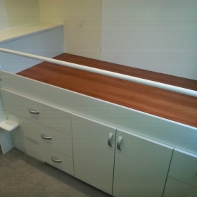 Childs Bed & Storage Built over Stairs Angle