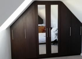 Dark Walnut and Mirror Dormer Wardrobe