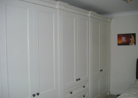 Ivory with Raised Fluted Pillars and Dental Cornice Wardrobes