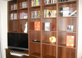 Light Walnut Book Case & TV Cabinet