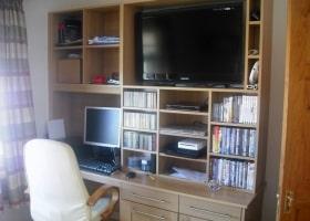 Oak Entertainment & Computer Cabinet