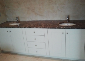White Hand Painted & Brown Granite His n Hers Vanity Cabinet