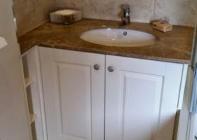 White Hand Painted & Granite Vanity Cabinet