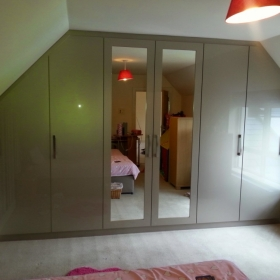 Zurfiz High Gloss Champagne with Mirror Dormer Wardrobe
