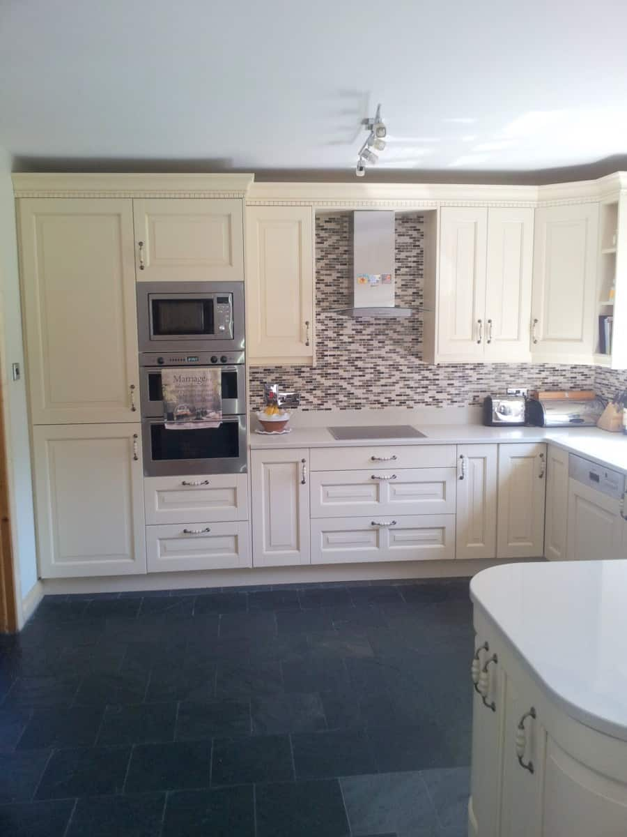 Painted Cream Kitchen With White Marble Worktop Wicklow Kitchens